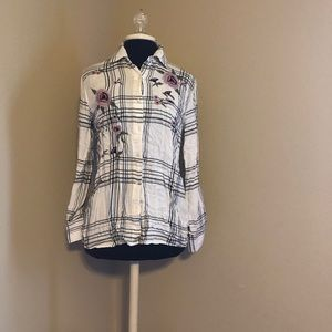 Francesca's embroidered flannel